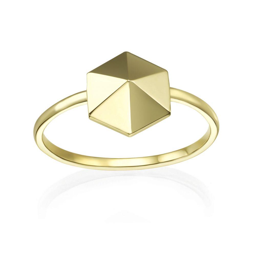 תכשיטי זהב לנשים | טבעת מזהב צהוב 14 קראט - פירמידה