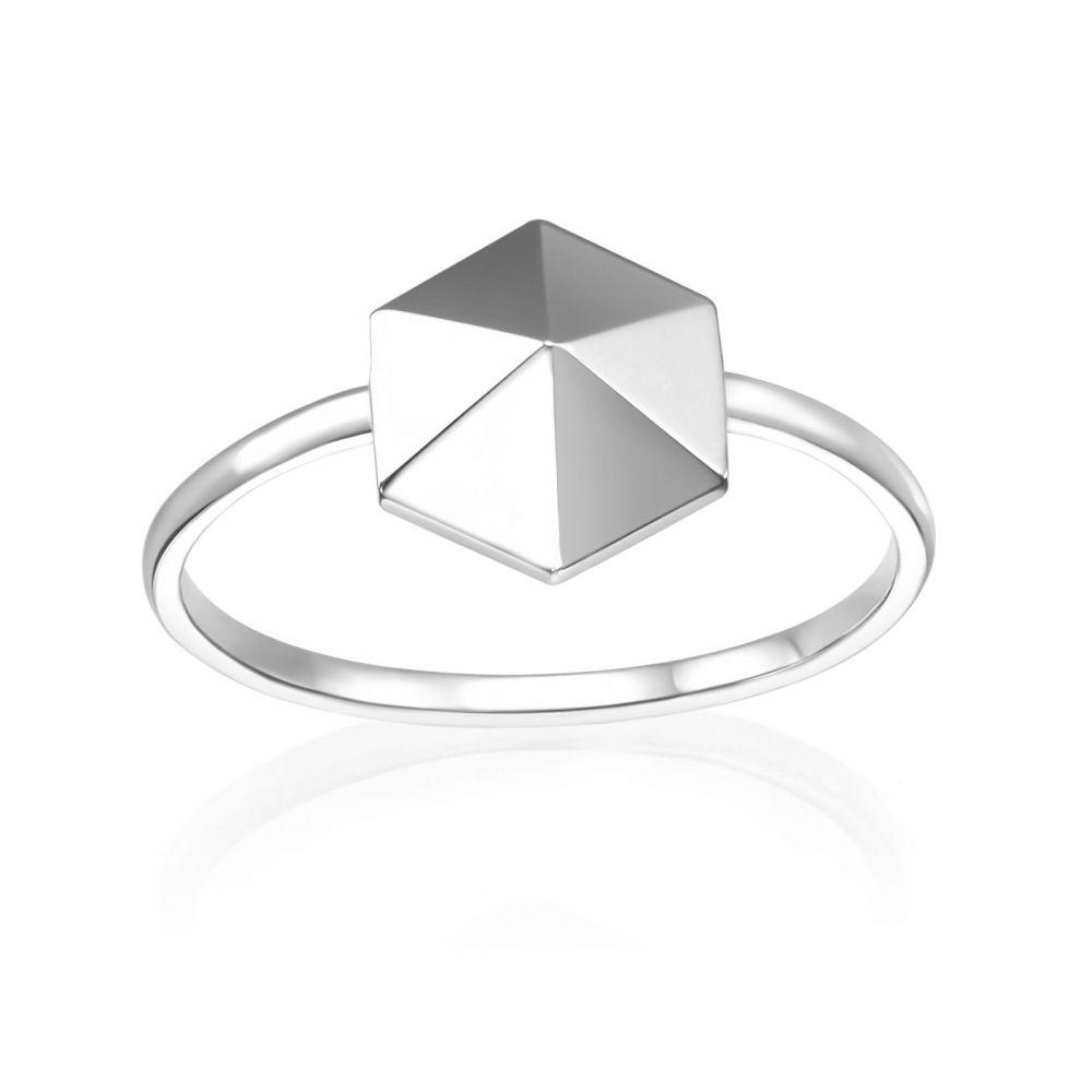 תכשיטי זהב לנשים | טבעת מזהב לבן 14 קראט - פירמידה