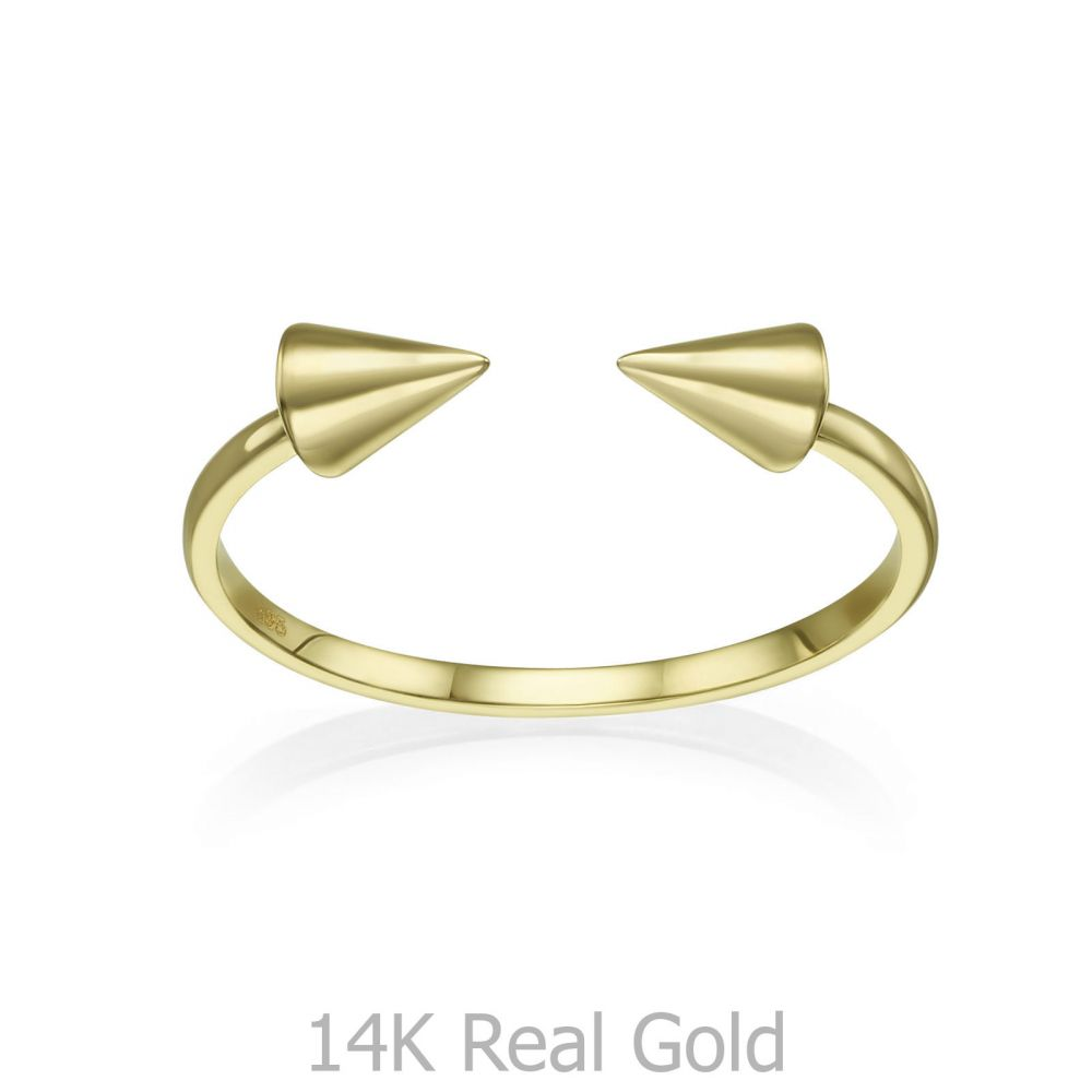 תכשיטי זהב לנשים | טבעת פתוחה מזהב צהוב 14 קראט - חצים מסתובבים