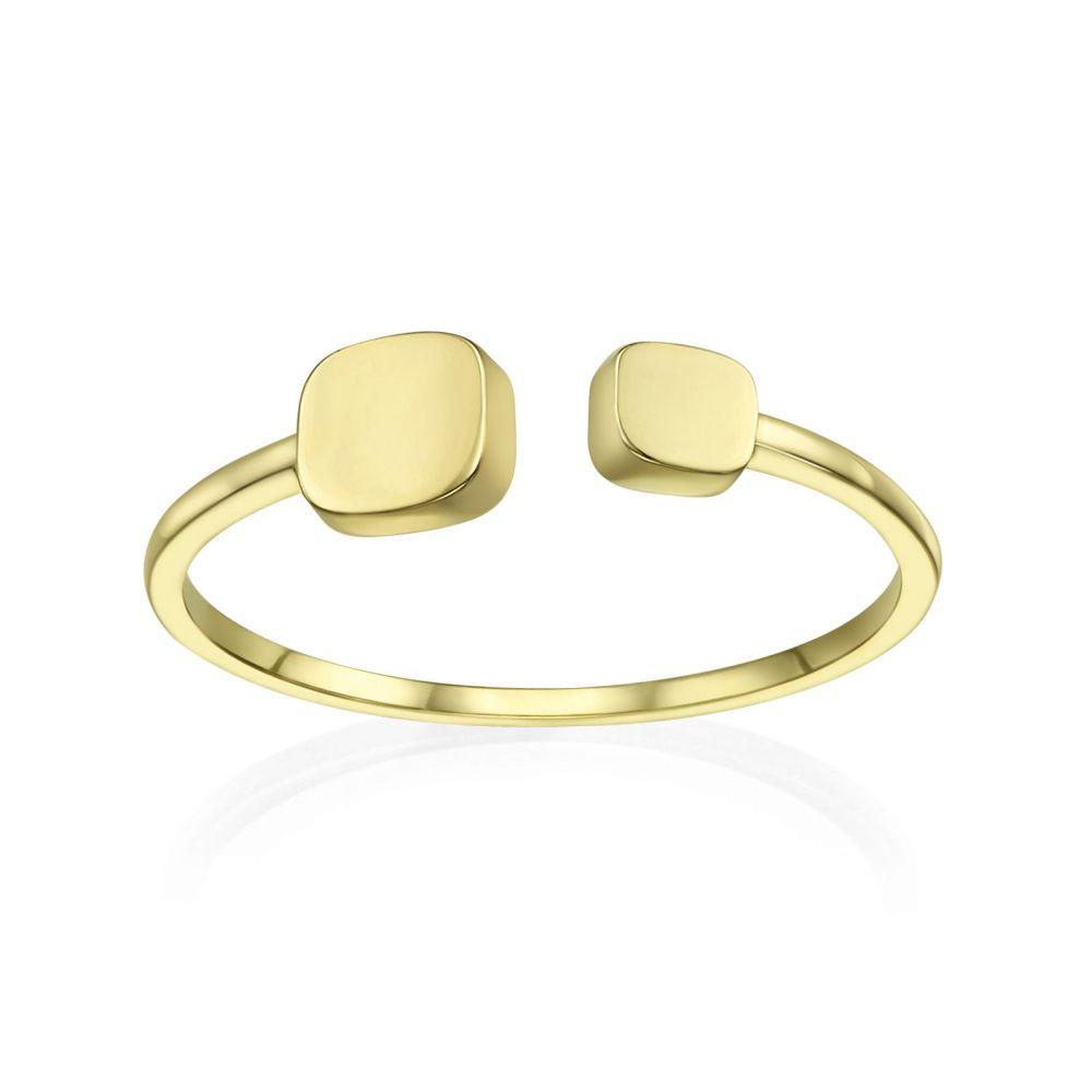 תכשיטי זהב לנשים | טבעת פתוחה מזהב צהוב 14 קראט - קוביות יולי