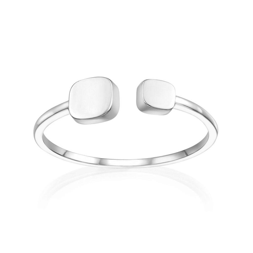 תכשיטי זהב לנשים | טבעת פתוחה מזהב לבן 14 קראט - קוביות יולי