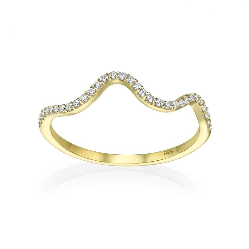 טבעות זהב | טבעת מזהב צהוב 14 קראט - גל מנצנץ