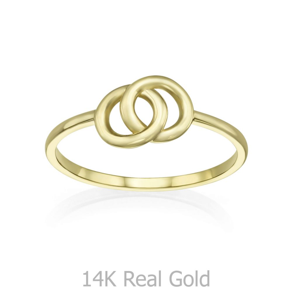 תכשיטי זהב לנשים | טבעת מזהב צהוב 14 קראט - עיגולי ג'ין