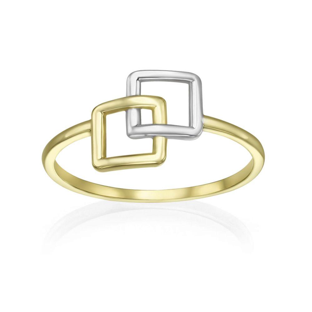 תכשיטי זהב לנשים | טבעת מזהב צהוב ולבן 14 קראט - ריבועי אליס