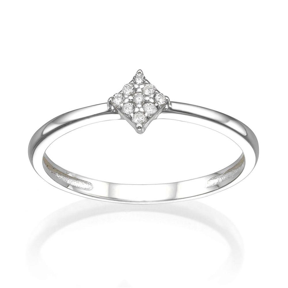 תכשיטי זהב לנשים | טבעת מזהב לבן 14 קראט - מעוין נוצץ