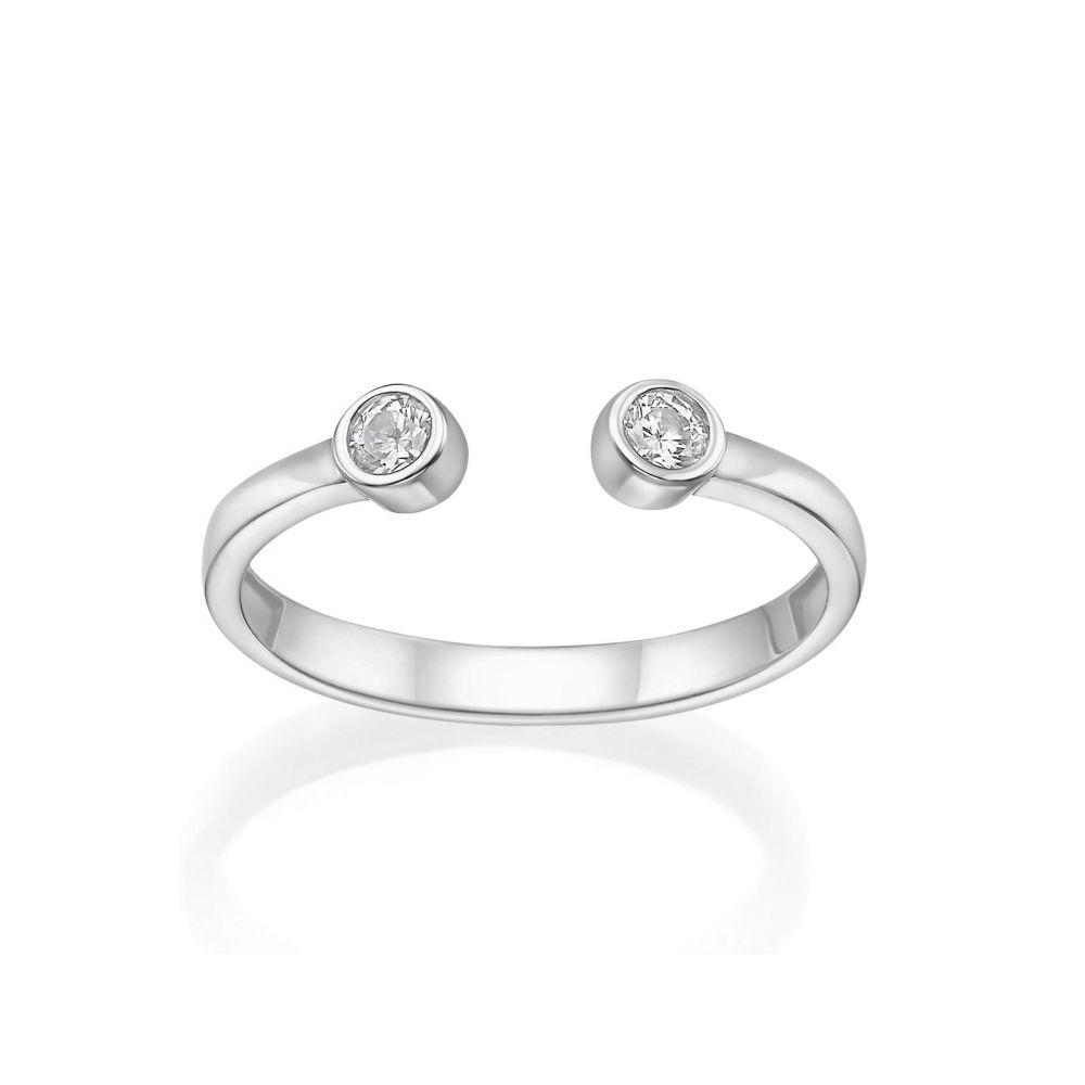 תכשיטי זהב לנשים | טבעת פתוחה מזהב לבן 14 קראט - עיגולי טל מנצנצים