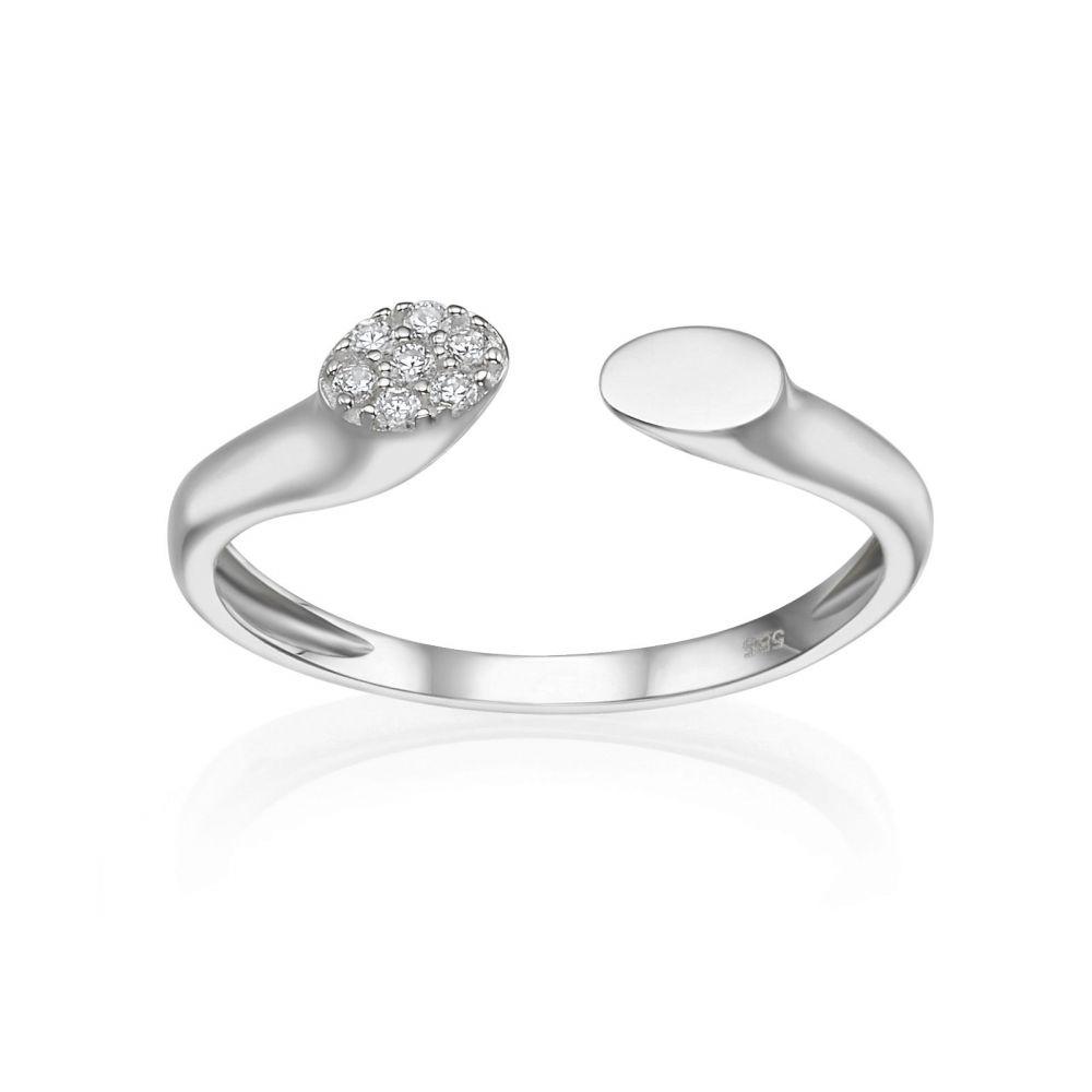 תכשיטי זהב לנשים | טבעת פתוחה מזהב לבן 14 קראט - סלין