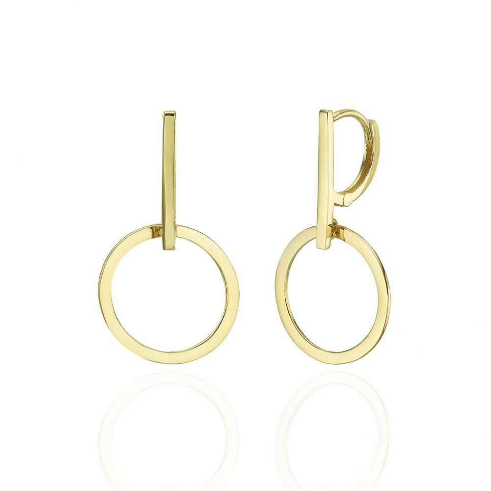 עגילי זהב | עגילים תלויים מזהב צהוב 14 קראט - מרקורי