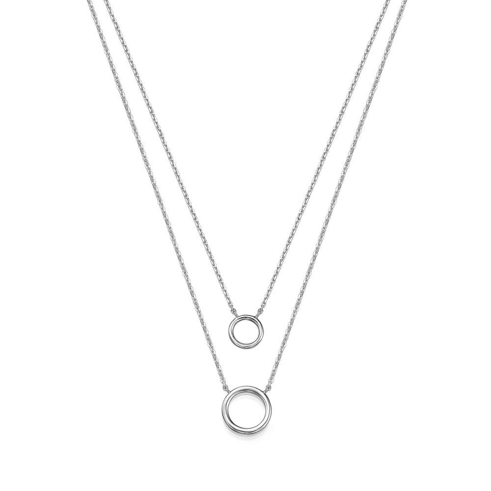 תכשיטי זהב לנשים | שרשרת ותליון מזהב לבן 14 קראט - ליבי