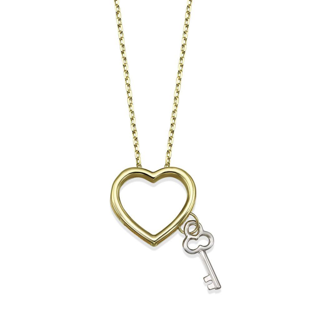תכשיטי זהב לנשים | שרשרת ותליון מזהב צהוב ולבן 14 קראט - מפתח הלב