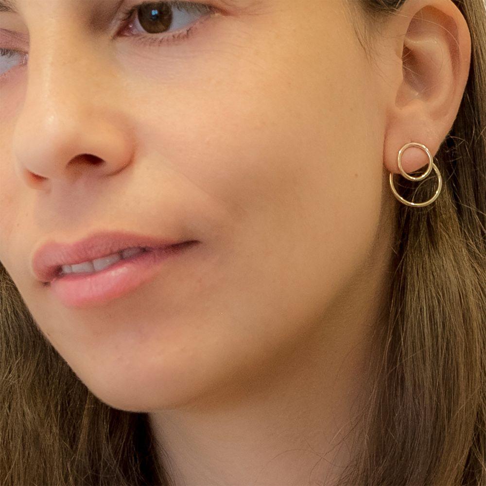 עגילי זהב | עגילים צמודים מזהב צהוב 14 קראט - פטרה