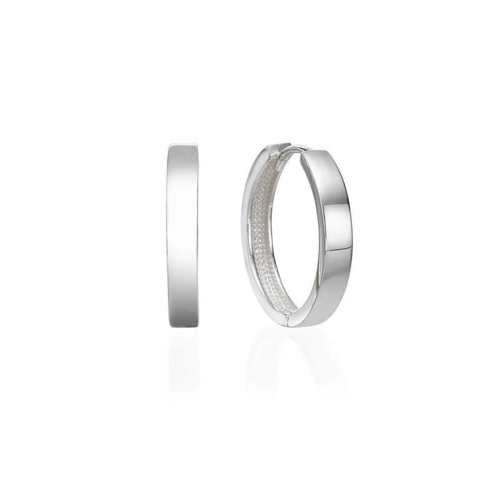 עגילי זהב | עגילי חישוק מזהב לבן 14 קראט  - חישוק כרמן