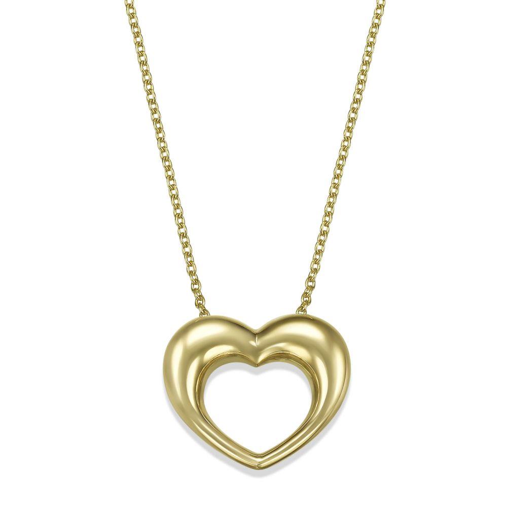 תכשיטי זהב לנשים | שרשרת ותליון מזהב צהוב 14 קראט - פיבי