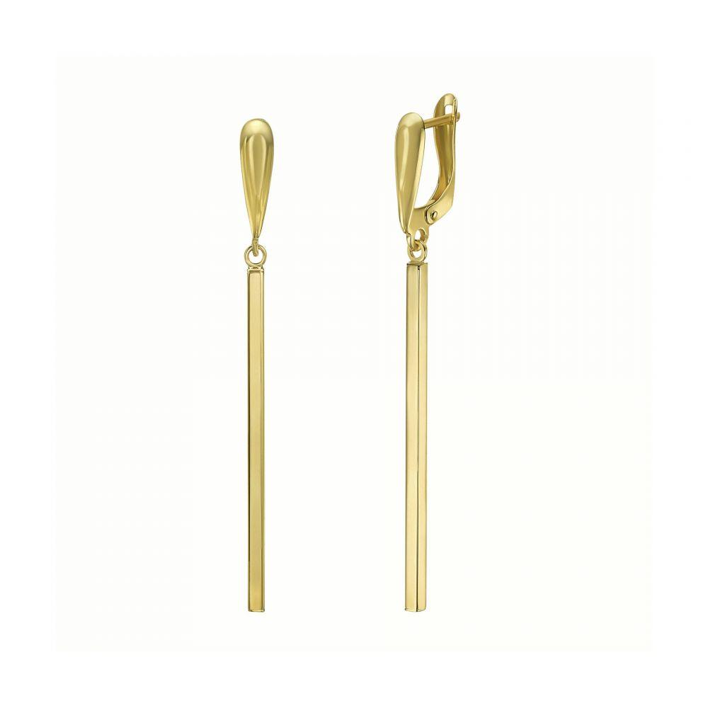 עגילי זהב | עגילים תלויים מזהב צהוב 14 קראט - לין