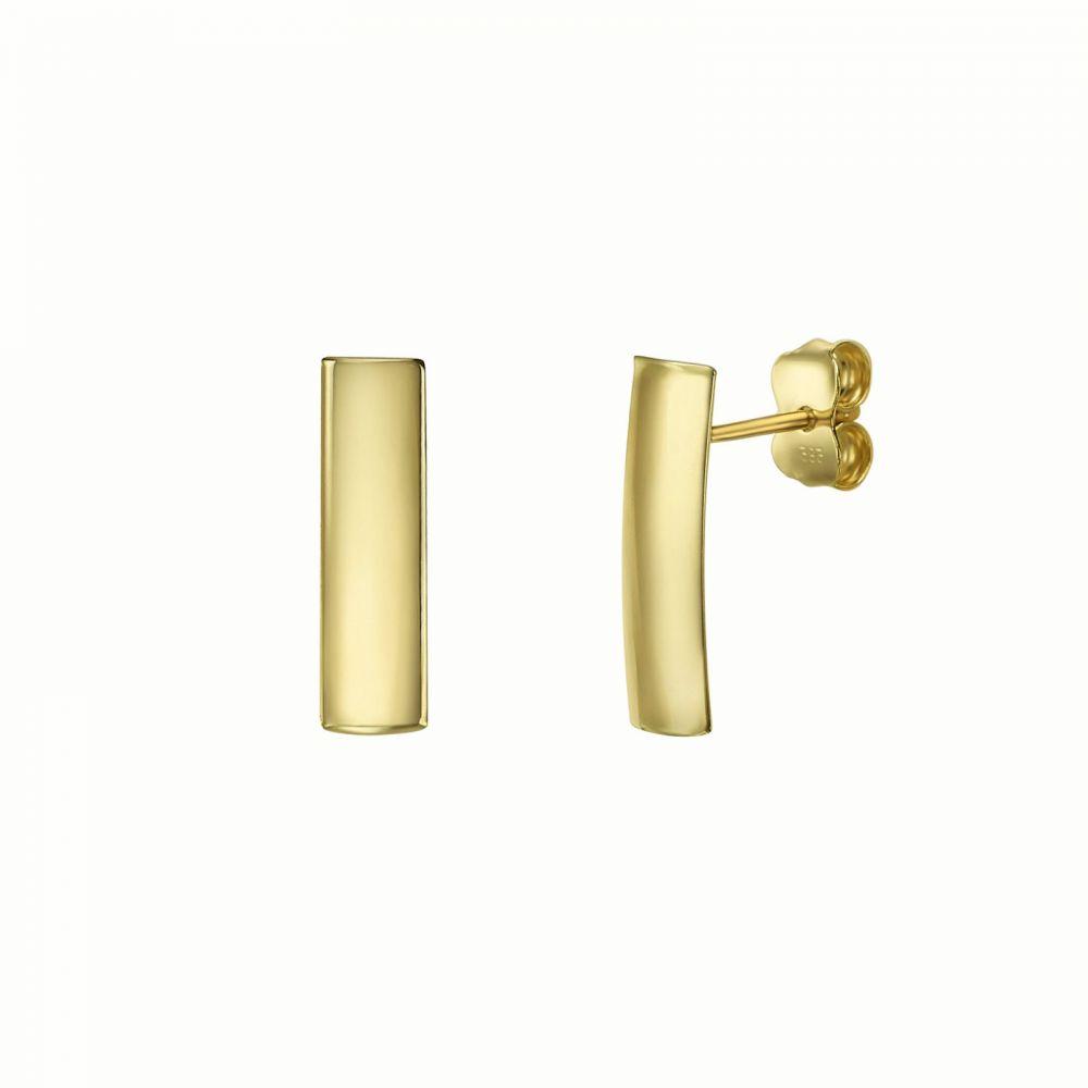 עגילי זהב | עגילים צמודים מזהב צהוב 14 קראט - תיאה קצר