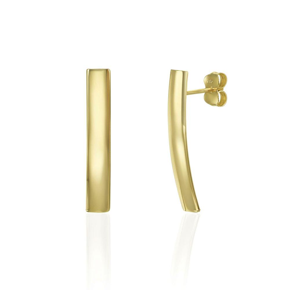 עגילי זהב | עגילים צמודים מזהב צהוב 14 קראט - תיאה ארוך