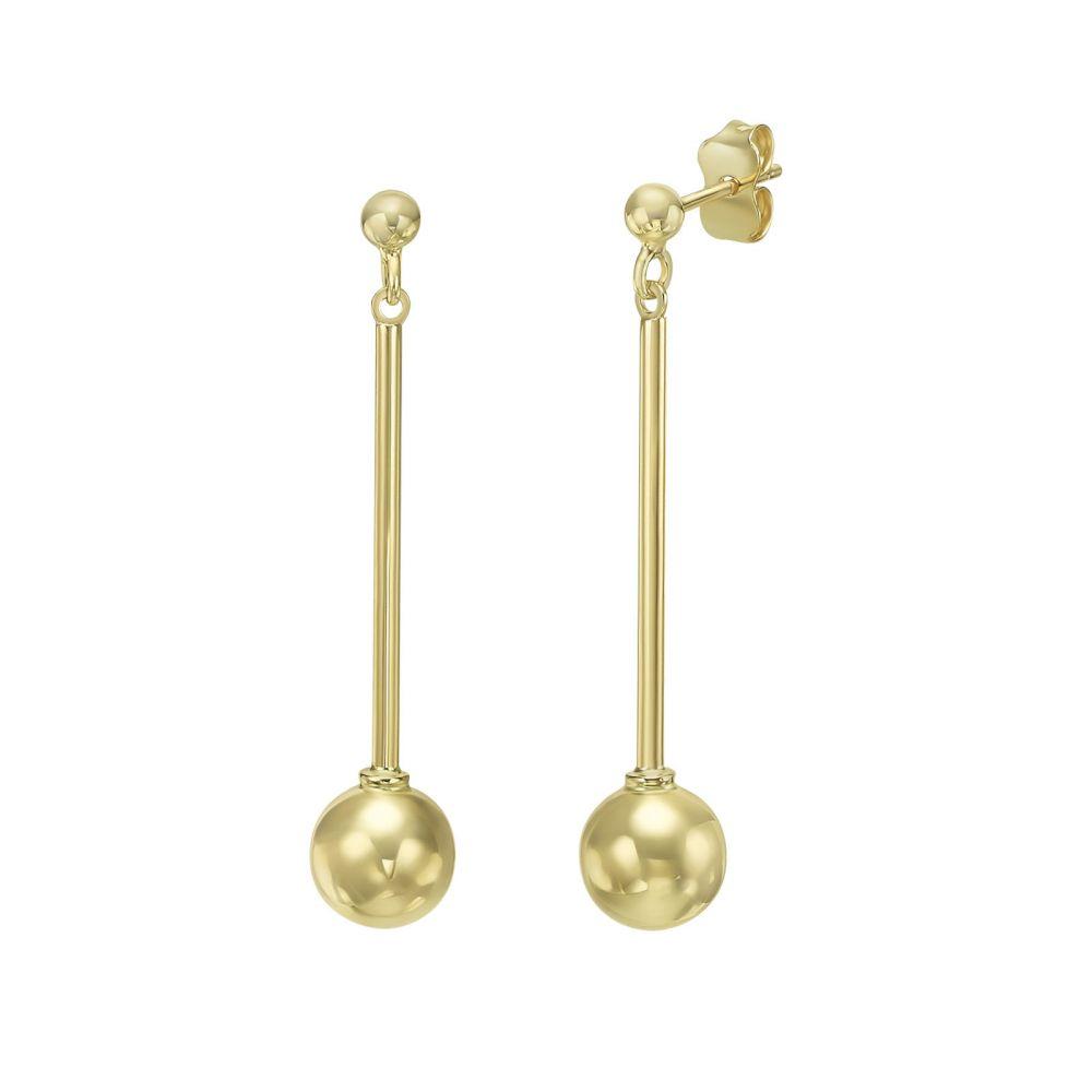 עגילי זהב | עגילים תלויים מזהב צהוב 14 קראט - כדור ענבל