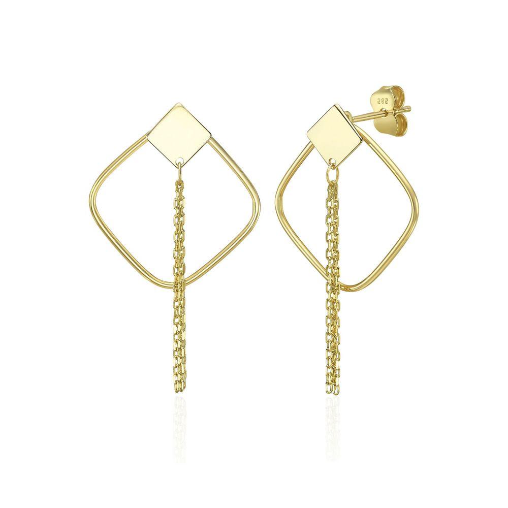 עגילי זהב | עגילים תלויים מזהב צהוב 14 קראט - אמיליה
