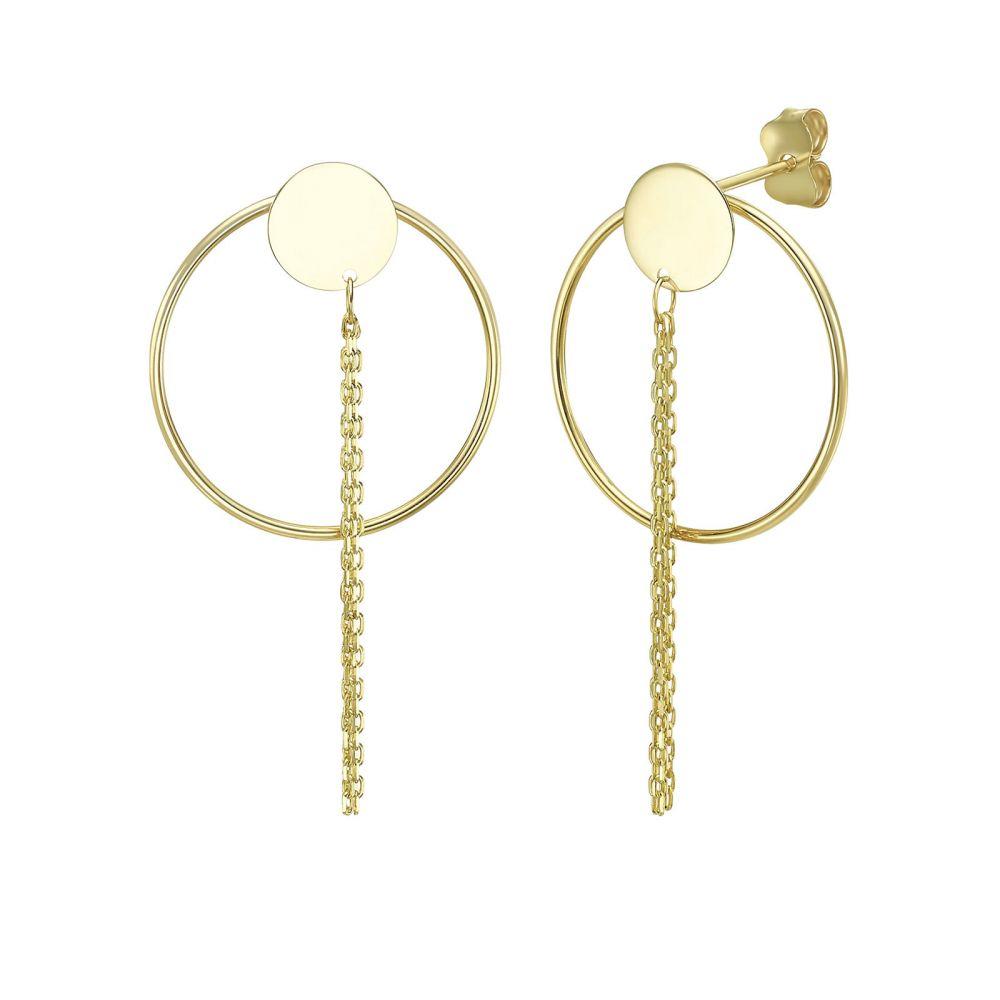 עגילי זהב | עגילים תלויים מזהב צהוב 14 קראט - לילה