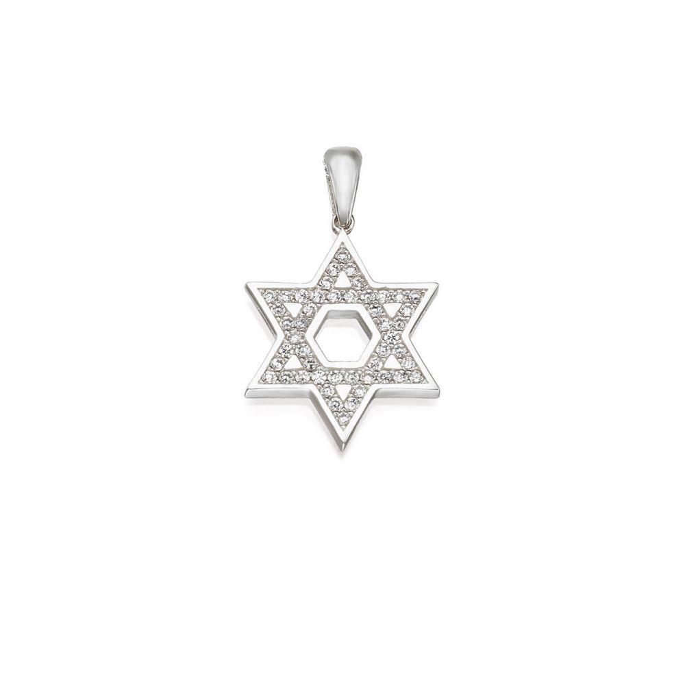 תכשיטי זהב לנשים | תליון מזהב לבן 14 קראט - מגן דוד מנצנץ