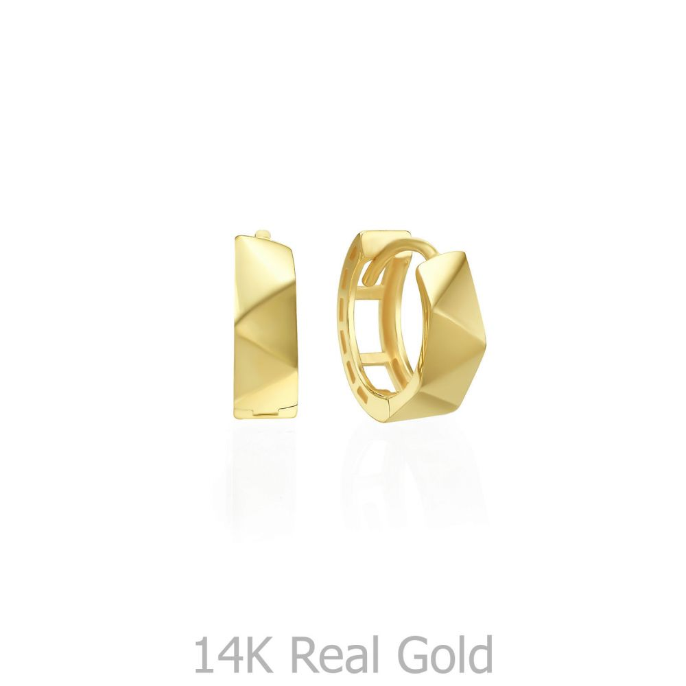 עגילי זהב   עגילי חישוק מזהב צהוב 14 קראט  - חישוק פריז