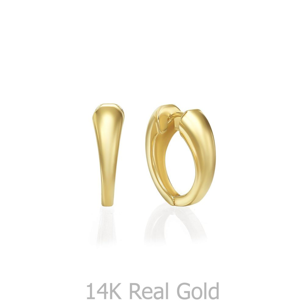 עגילי זהב | עגילי חישוק מזהב צהוב 14 קראט  - חישוק פיבי