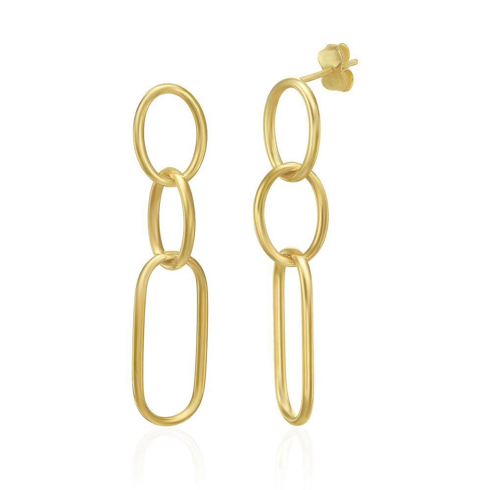 עגילי זהב | עגילים תלויים מזהב צהוב 14 קראט - ממפיס