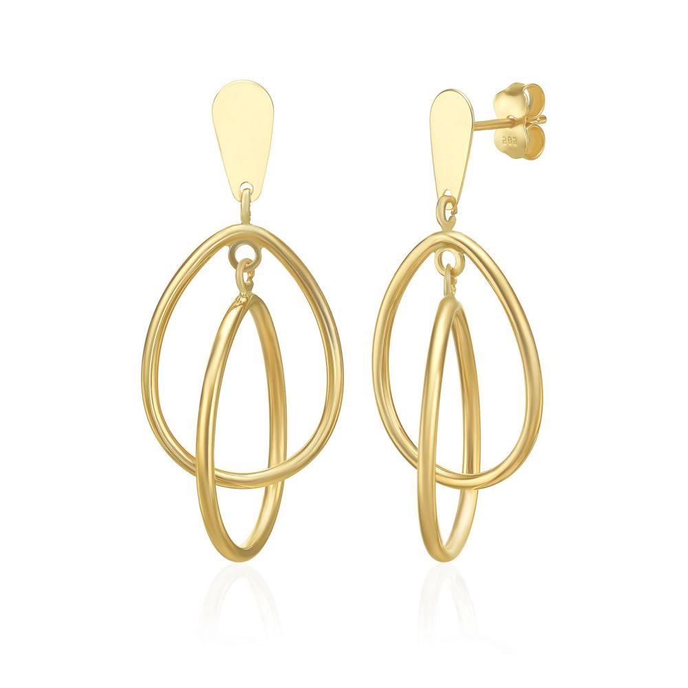 עגילי זהב | עגילים תלויים מזהב צהוב ולבן 14 קראט - טרויה