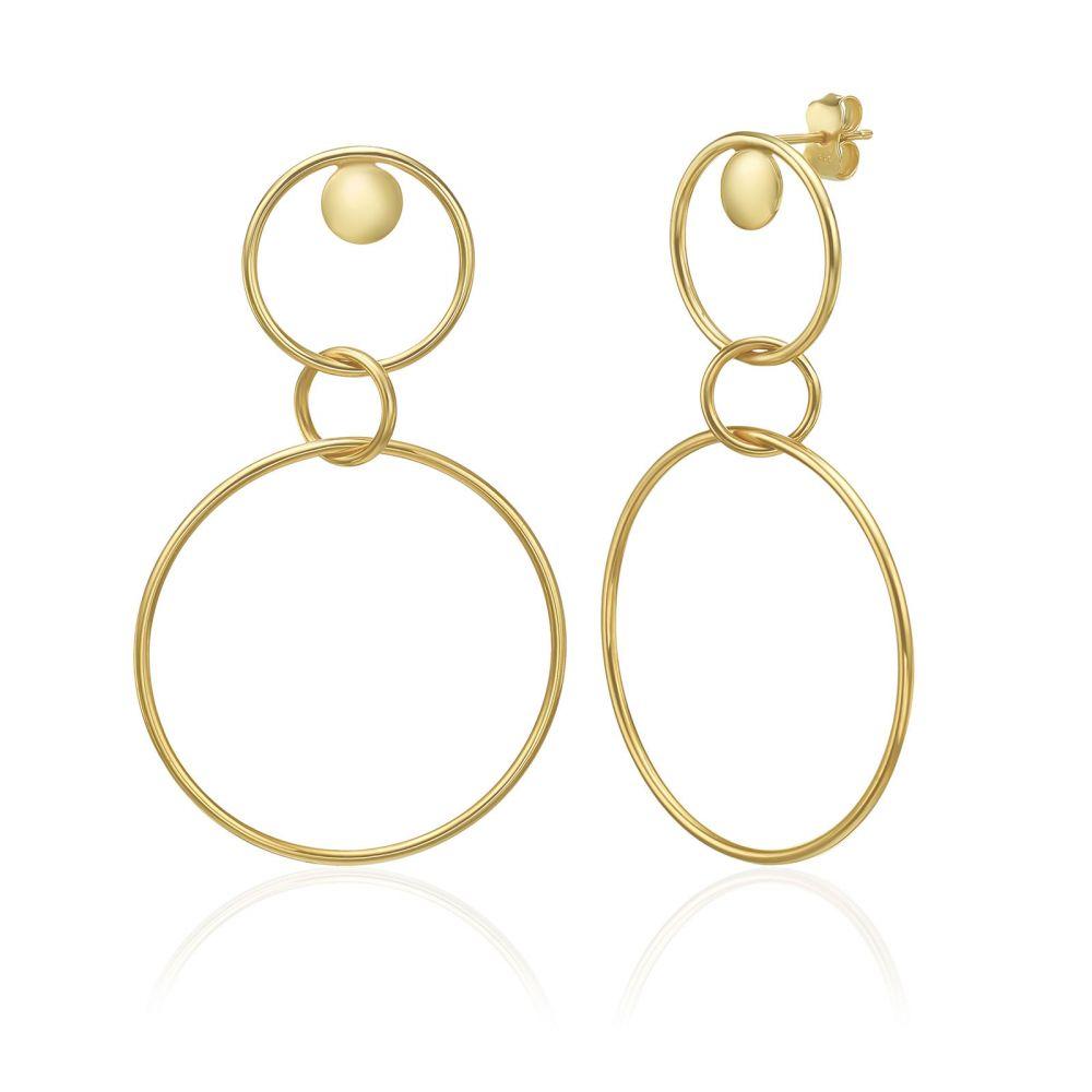 עגילי זהב | עגילים מזהב צהוב 14 קראט - פומפיי