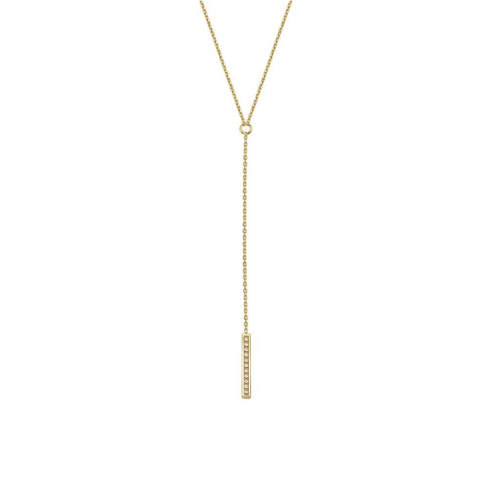 תכשיטי זהב לנשים | שרשרת ותליון מזהב צהוב 14 קראט - ויטוריה