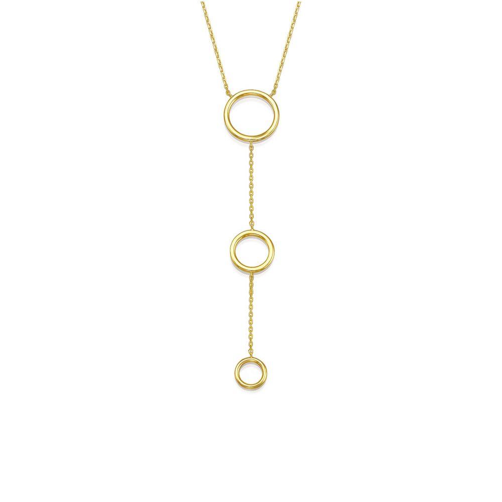 תכשיטי זהב לנשים   שרשרת ותליון מזהב צהוב 14 קראט - זואי