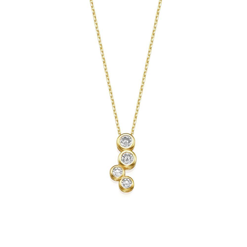 תכשיטי זהב לנשים   שרשרת ותליון מזהב צהוב 14 קראט - זהר צפוני