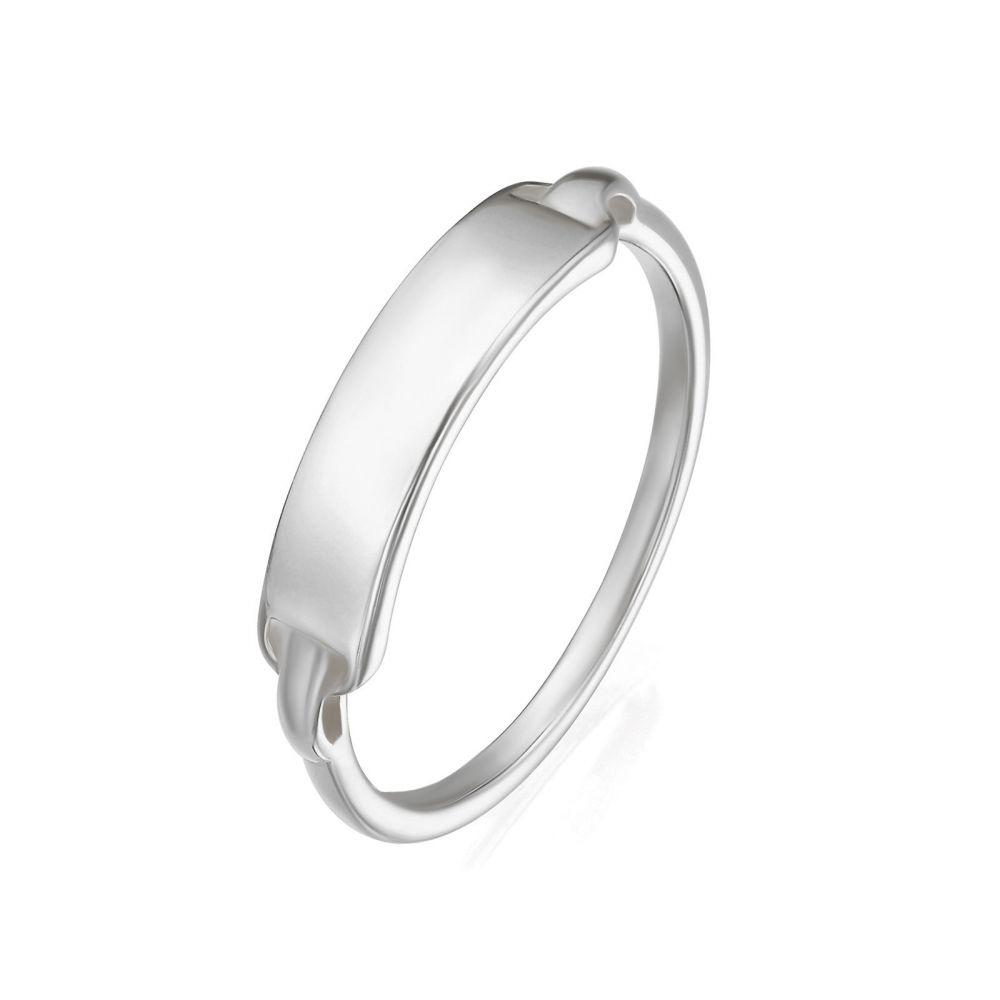 תכשיטי זהב לנשים | טבעת מזהב לבן 14 קראט - חותם מדריד