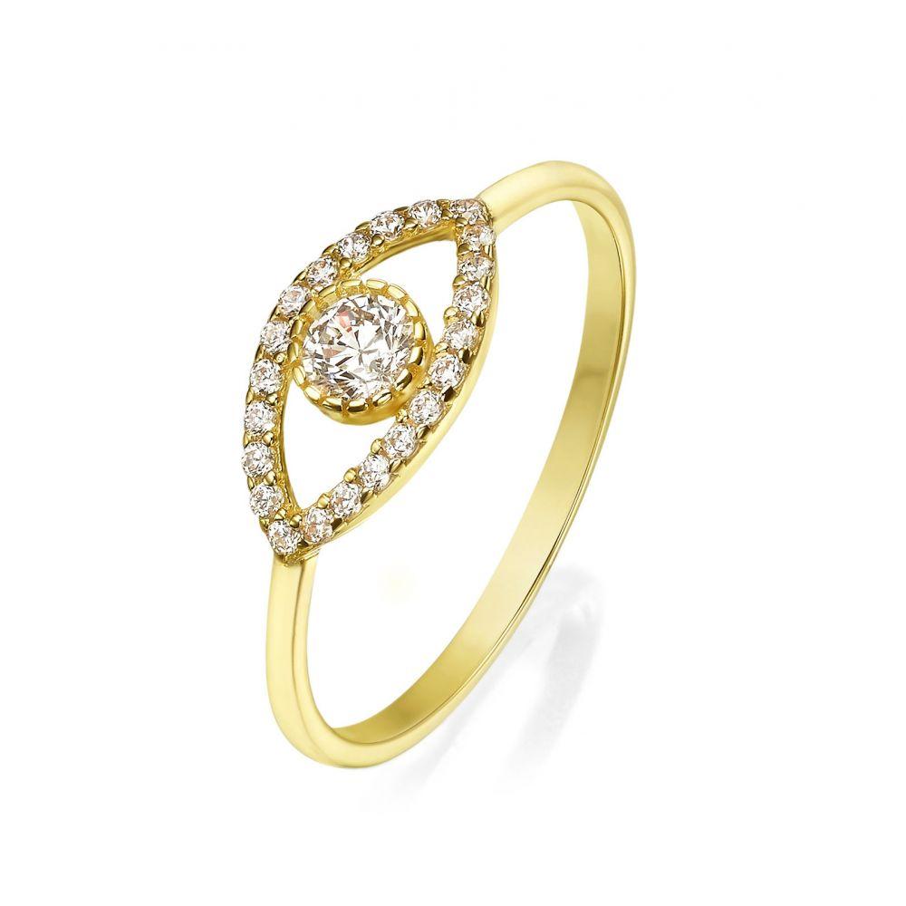 תכשיטי זהב לנשים   טבעת מזהב צהוב 14 קראט - עין מנצנצת