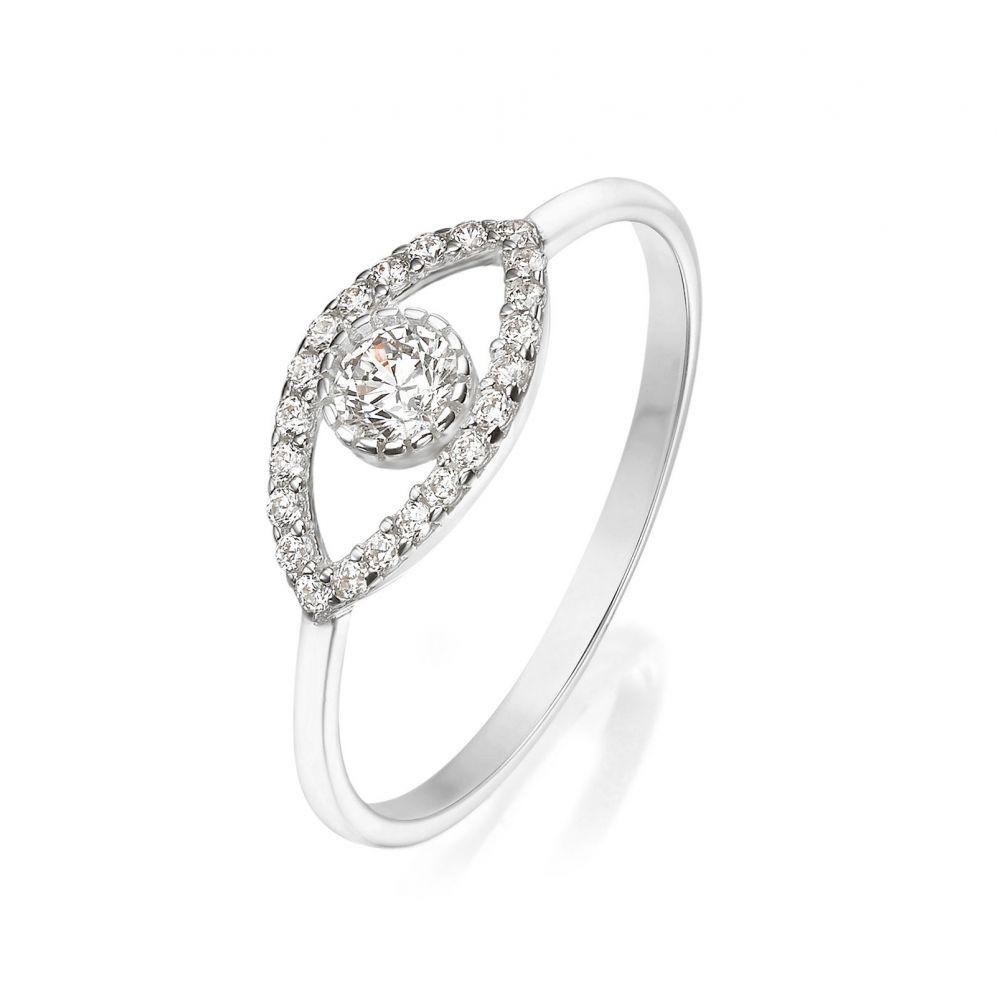 תכשיטי זהב לנשים | טבעת מזהב לבן 14 קראט - עין מנצנצת
