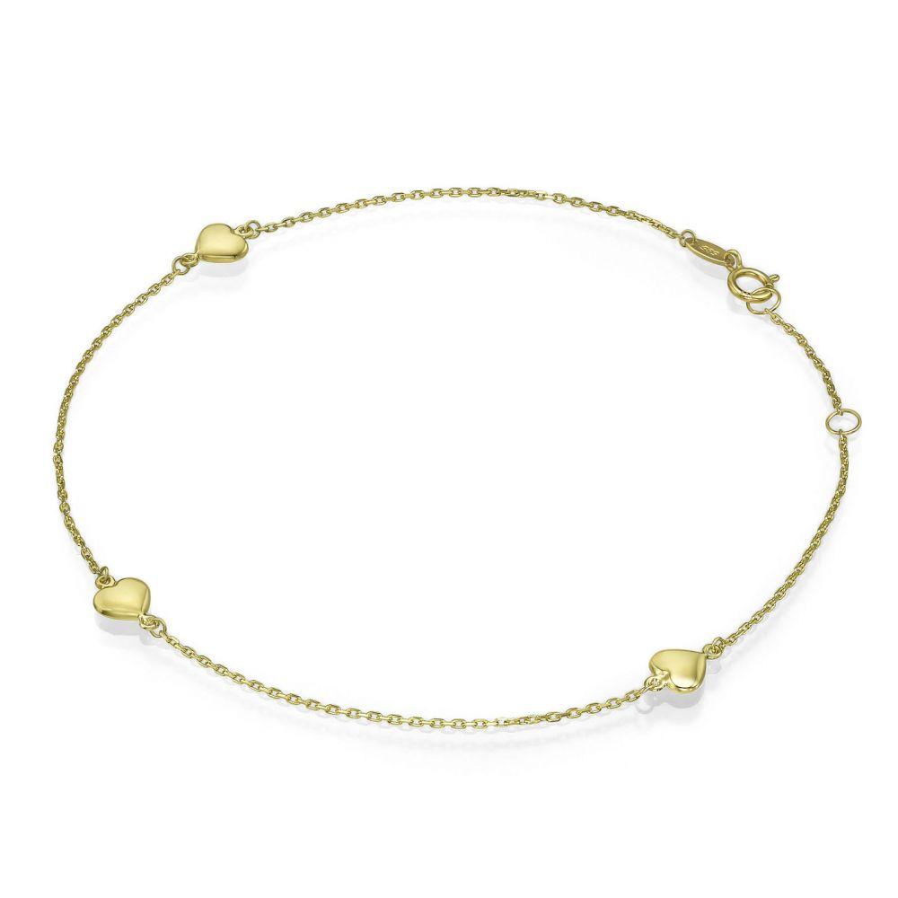 תכשיטי זהב לנשים | צמיד לרגל מזהב צהוב 14 קראט - לב אדריאנה