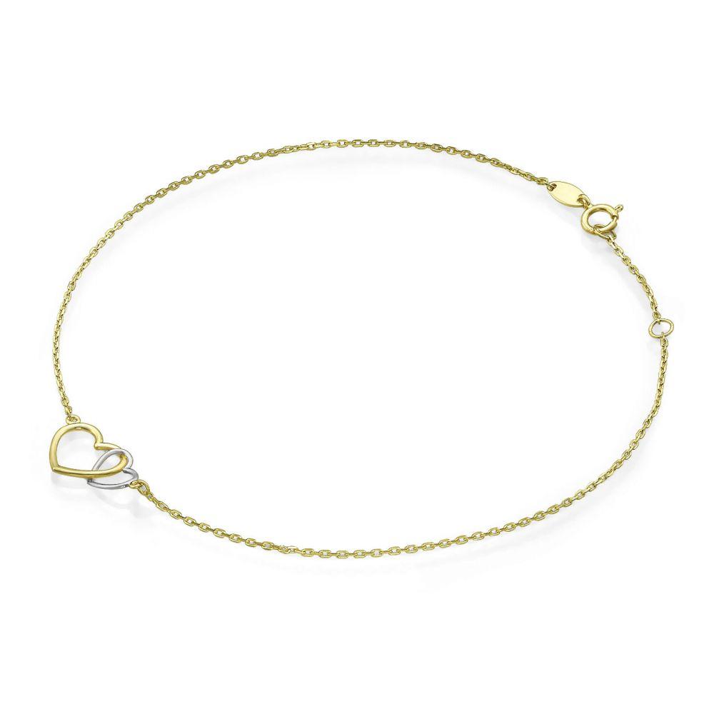 תכשיטי זהב לנשים | צמיד לרגל מזהב צהוב ולבן 14 קראט - לבבות מאוחדים