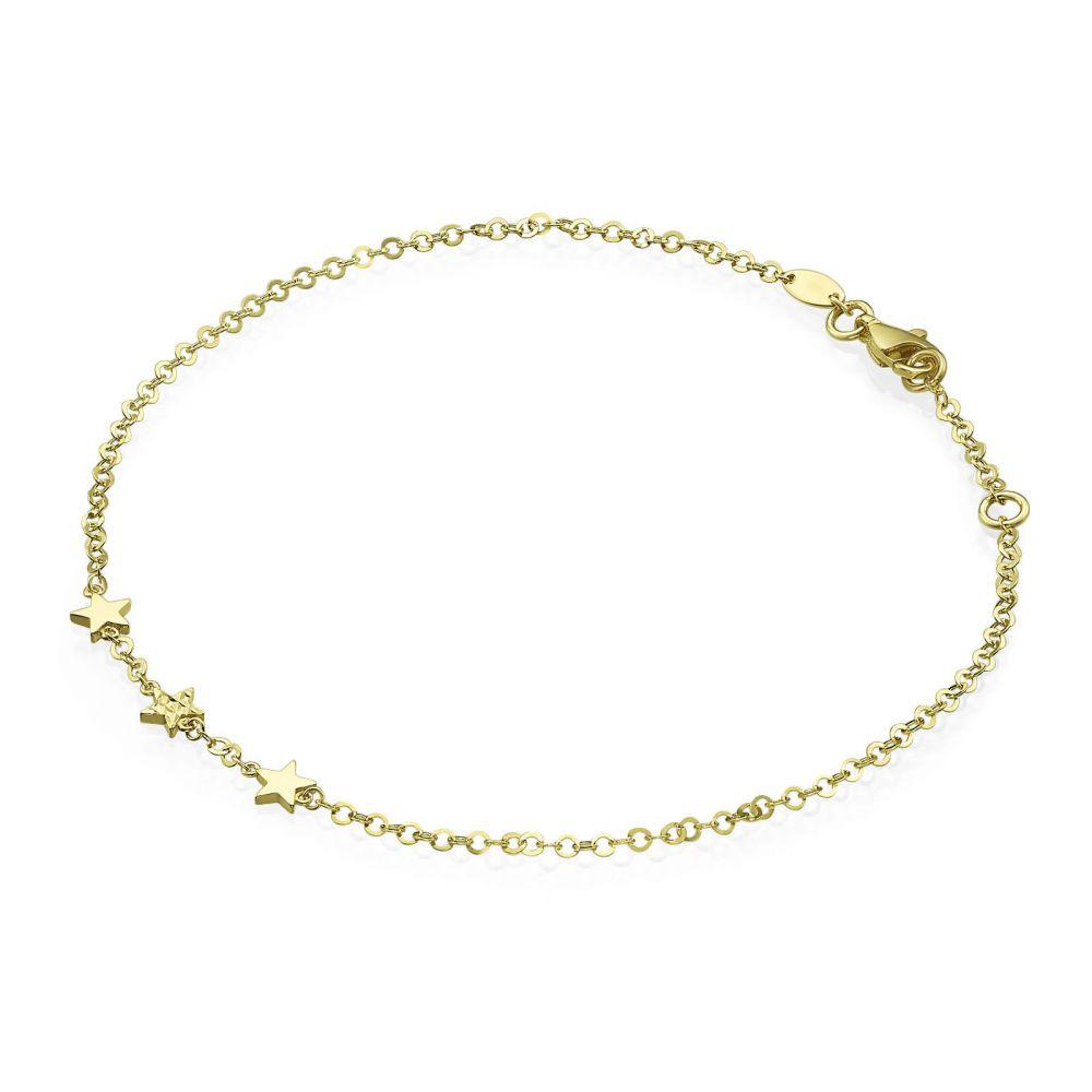 תכשיטי זהב לנשים | צמיד לרגל מזהב צהוב 14 קראט - כוכב המדבר