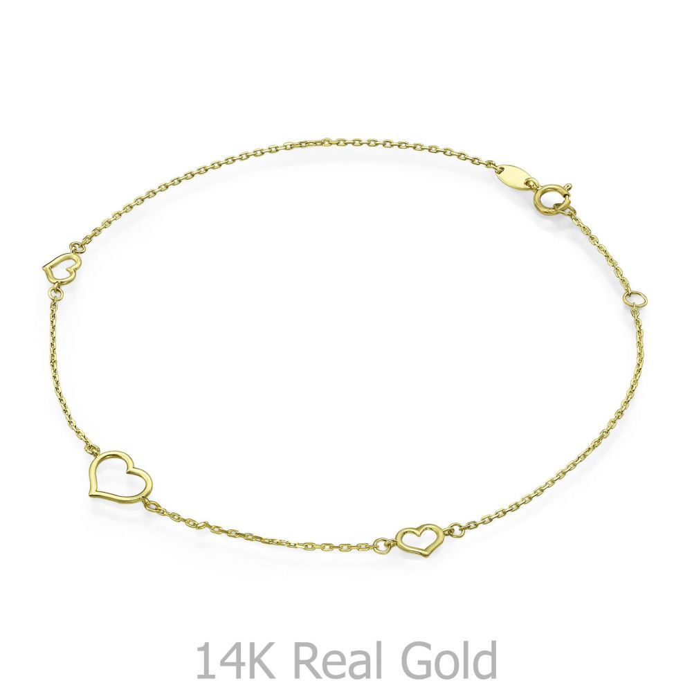 תכשיטי זהב לנשים | צמיד לרגל מזהב צהוב 14 קראט - לב טפיטי