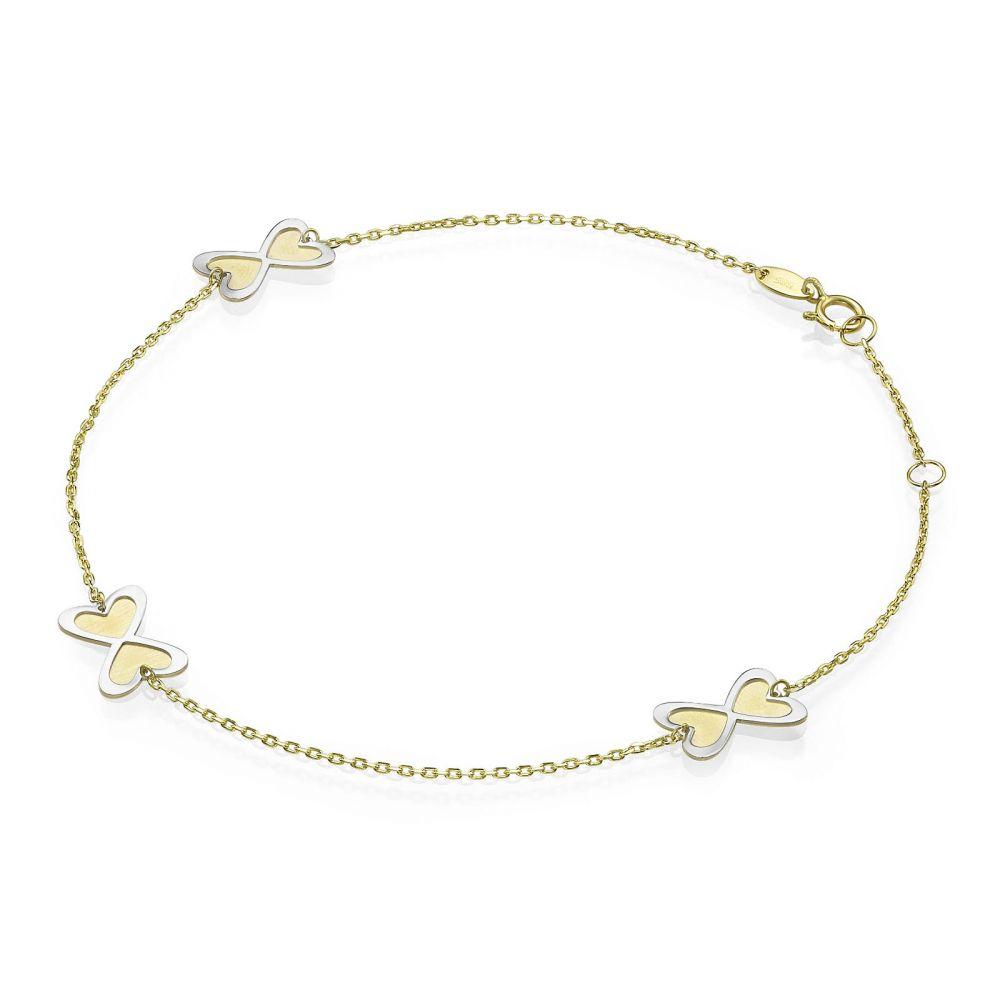 תכשיטי זהב לנשים | צמיד לרגל מזהב צהוב ולבן 14 קראט - אינסוף לבבות