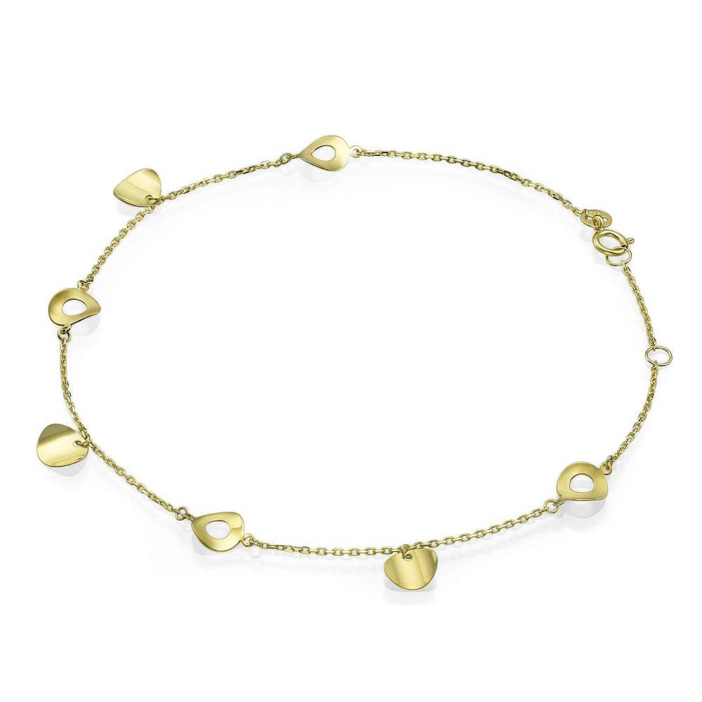 תכשיטי זהב לנשים | צמיד לרגל מזהב צהוב 14 קראט - גלקסיה