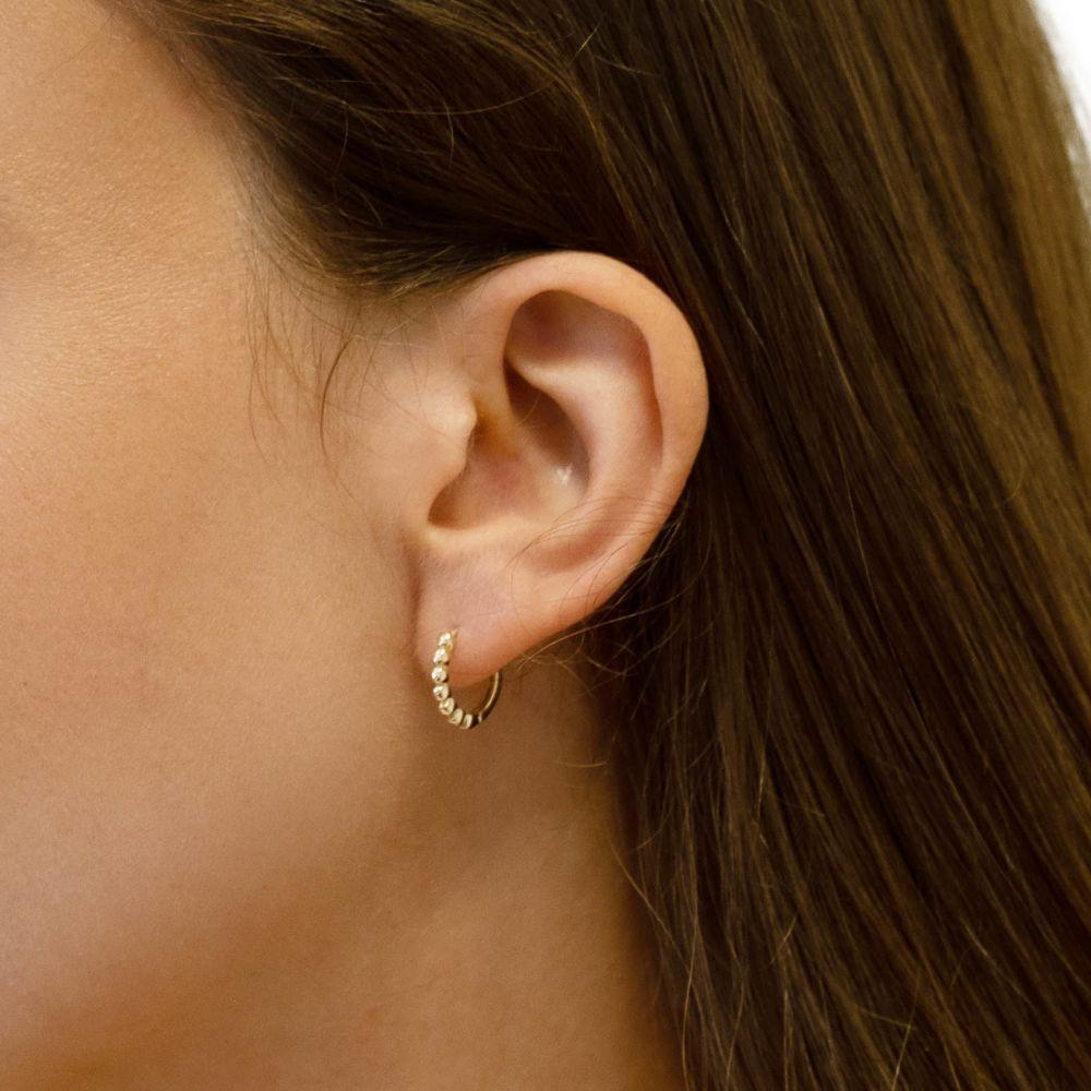 עגילי זהב | עגילים לנשים מזהב צהוב 14 קראט - כדורים