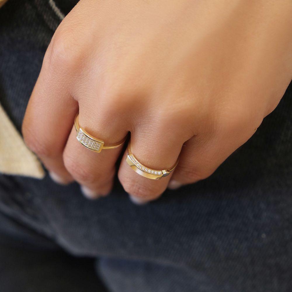 תכשיטי זהב לנשים | טבעת מזהב צהוב 14 קראט - חותם מנצנץ