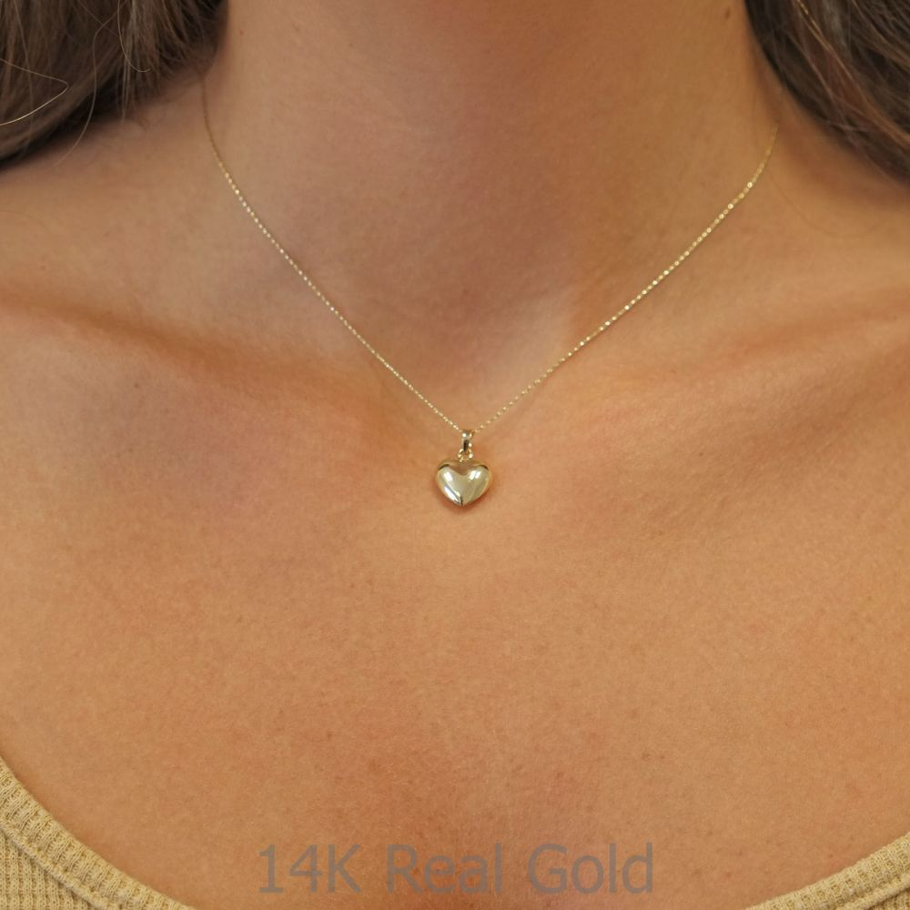 תכשיטי זהב לנשים   שרשרת ותליון מזהב צהוב 14 קראט - לב פיג'י
