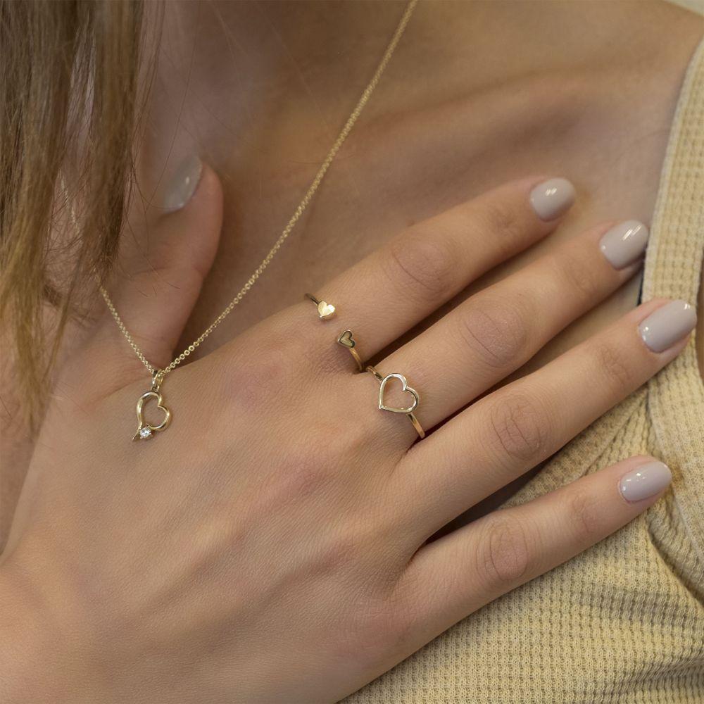 תכשיטי זהב לנשים   טבעת מזהב צהוב 14 קראט - לב