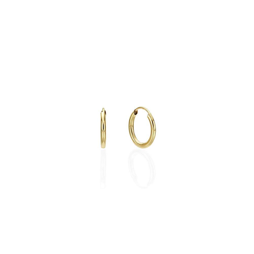 עגילי זהב | עגילי חישוק מזהב צהוב 14 קראט - XS