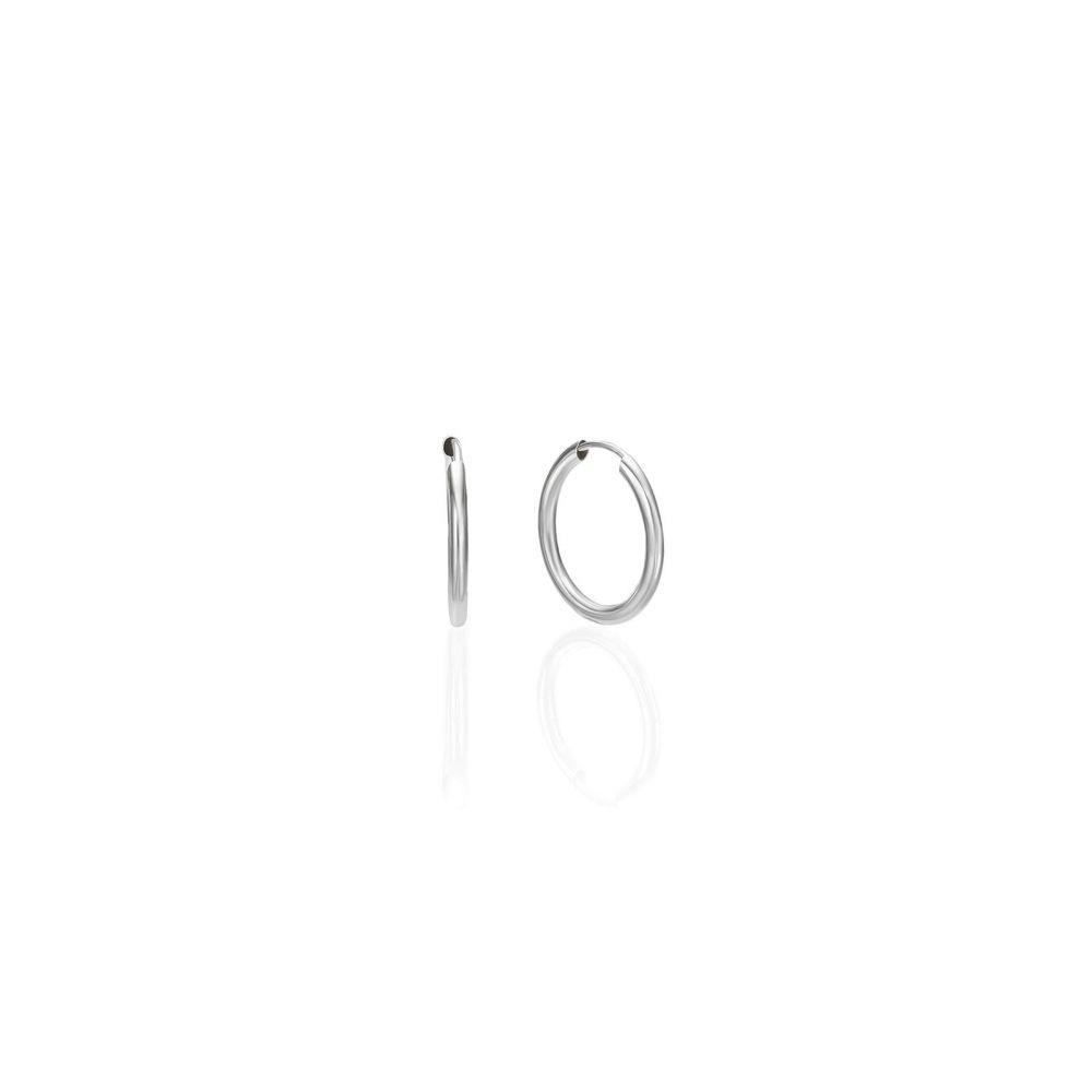 עגילי זהב | עגילי חישוק פלקסי מזהב לבן 14 קראט - S