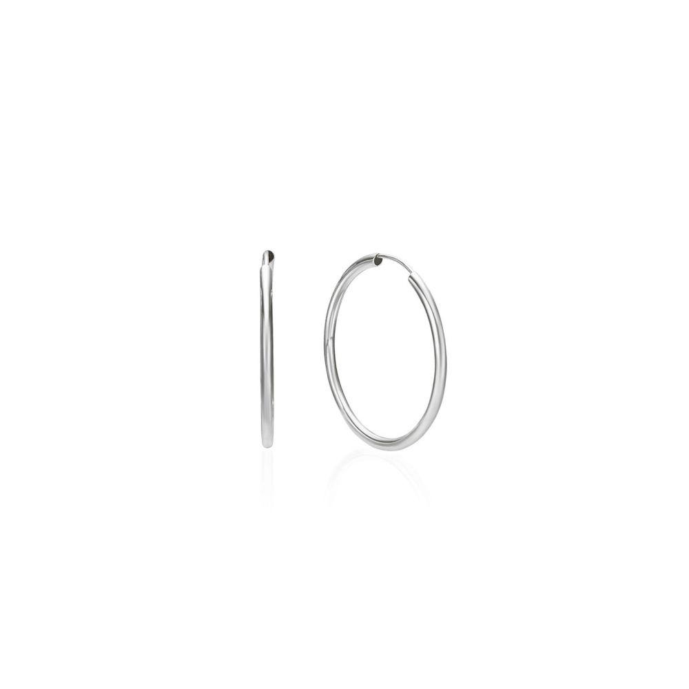 עגילי זהב   עגילי חישוק פלקסי מזהב לבן 14 קראט - M