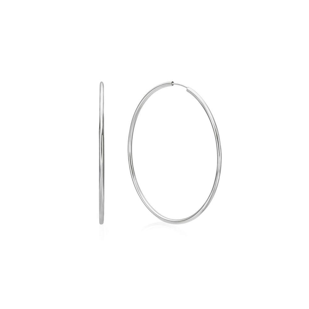 עגילי זהב | עגילי חישוק פלקסי מזהב לבן 14 קראט - XL