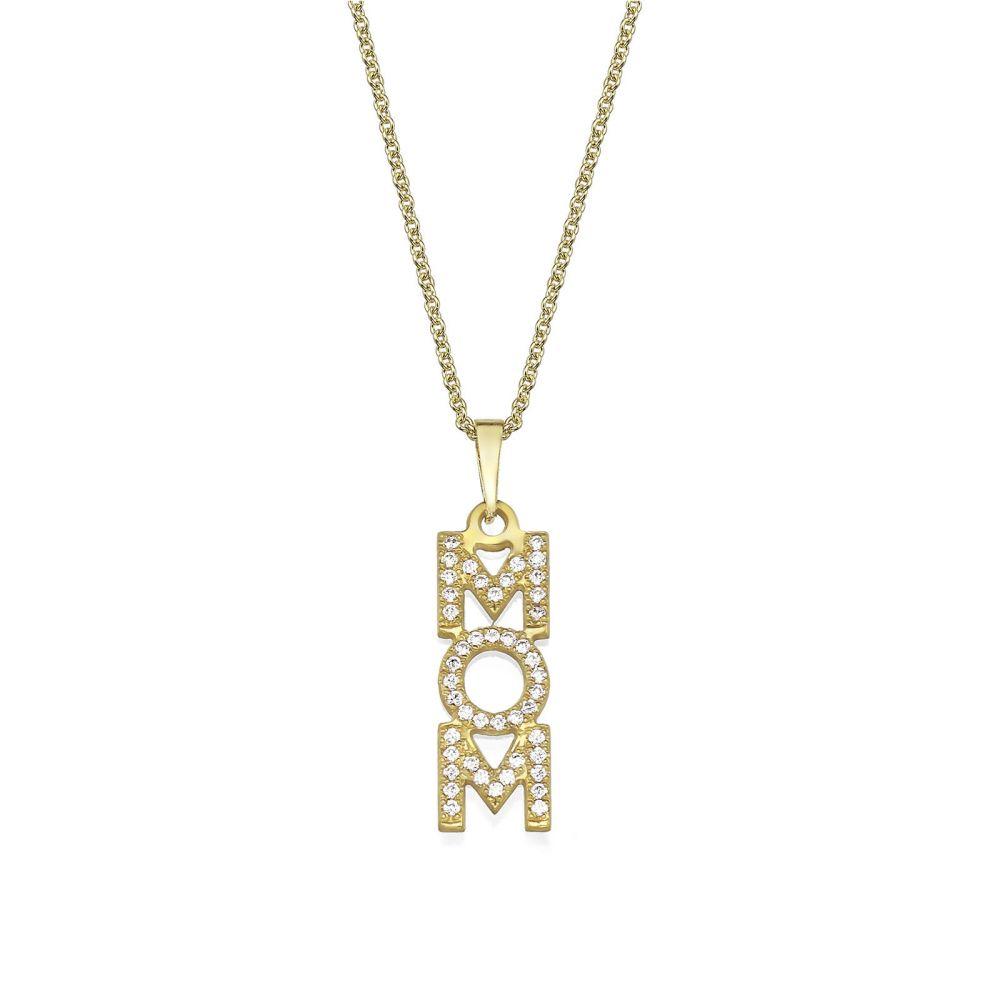 תליוני זהב | שרשרת mom זהב צהוב 14 קראט  -  אנכי זירקונים